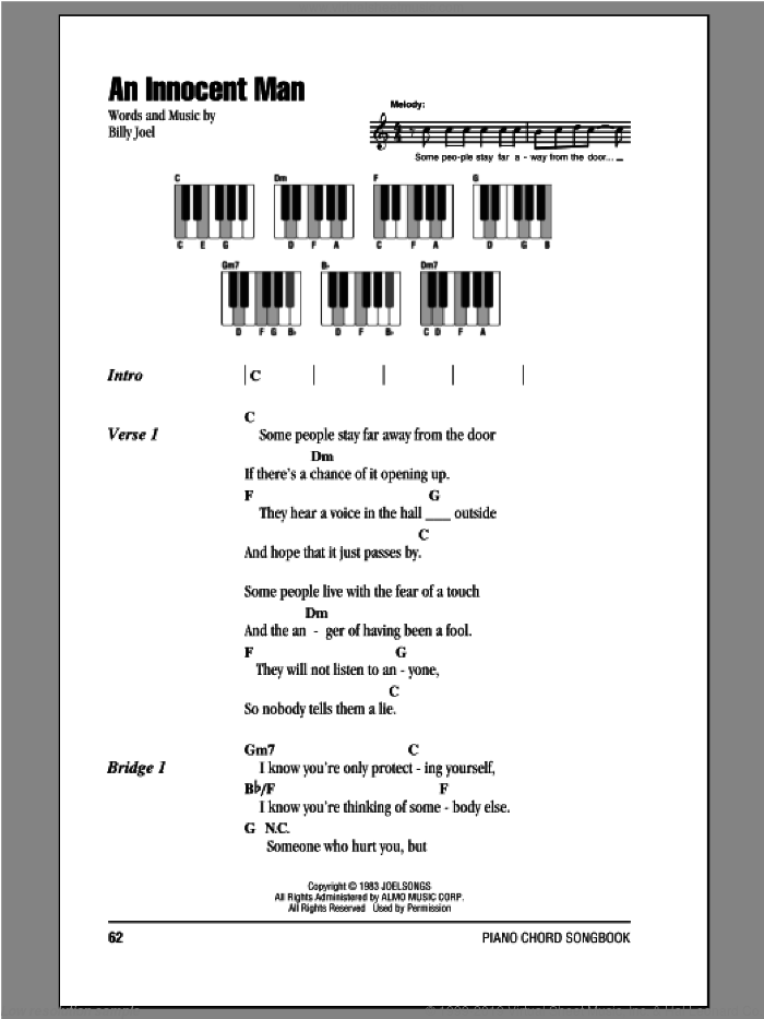 An Innocent Man sheet music for piano solo (chords, lyrics, melody) by Billy Joel. Score Image Preview.