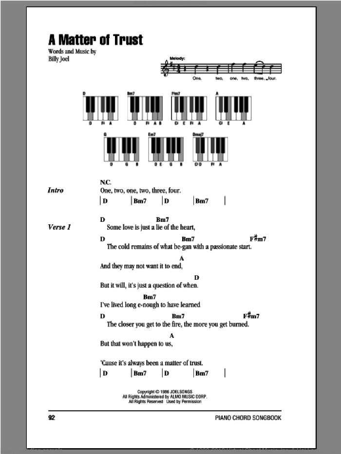 A Matter Of Trust sheet music for piano solo (chords, lyrics, melody) by Billy Joel, intermediate piano (chords, lyrics, melody)