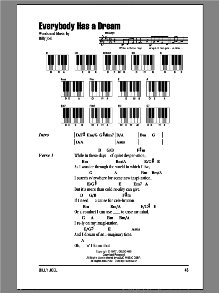 Everybody Has A Dream sheet music for piano solo (chords, lyrics, melody) by Billy Joel, intermediate piano (chords, lyrics, melody)