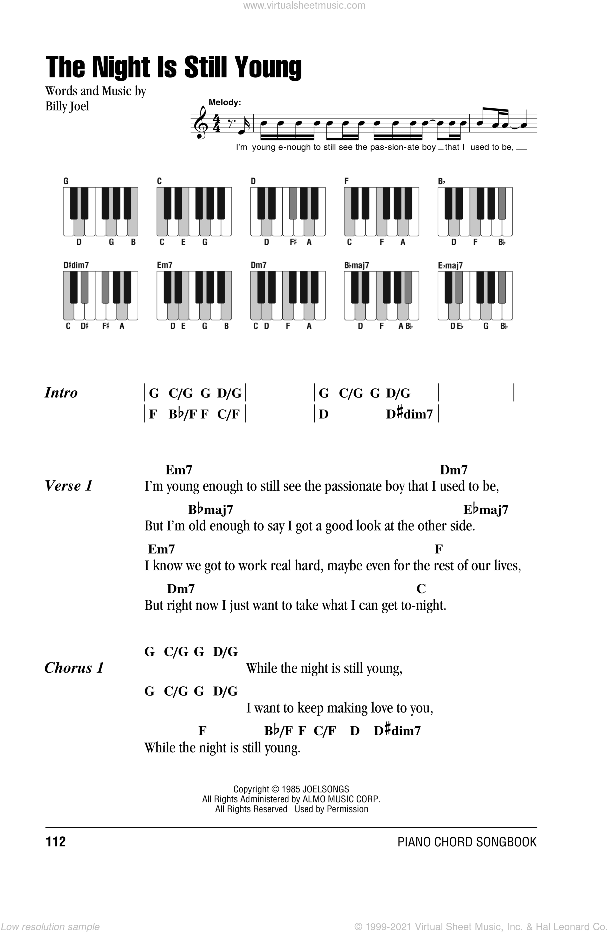 Joel The Night Is Still Young Sheet Music For Piano Solo Chords
