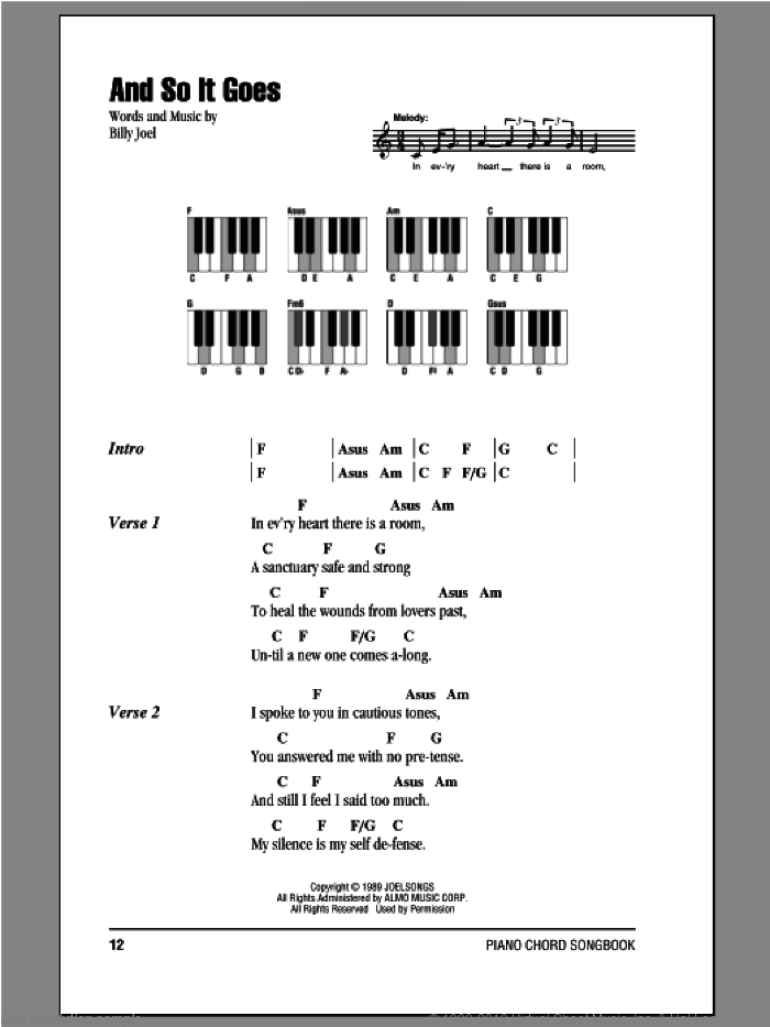 And So It Goes sheet music for piano solo (chords, lyrics, melody) by Billy Joel. Score Image Preview.