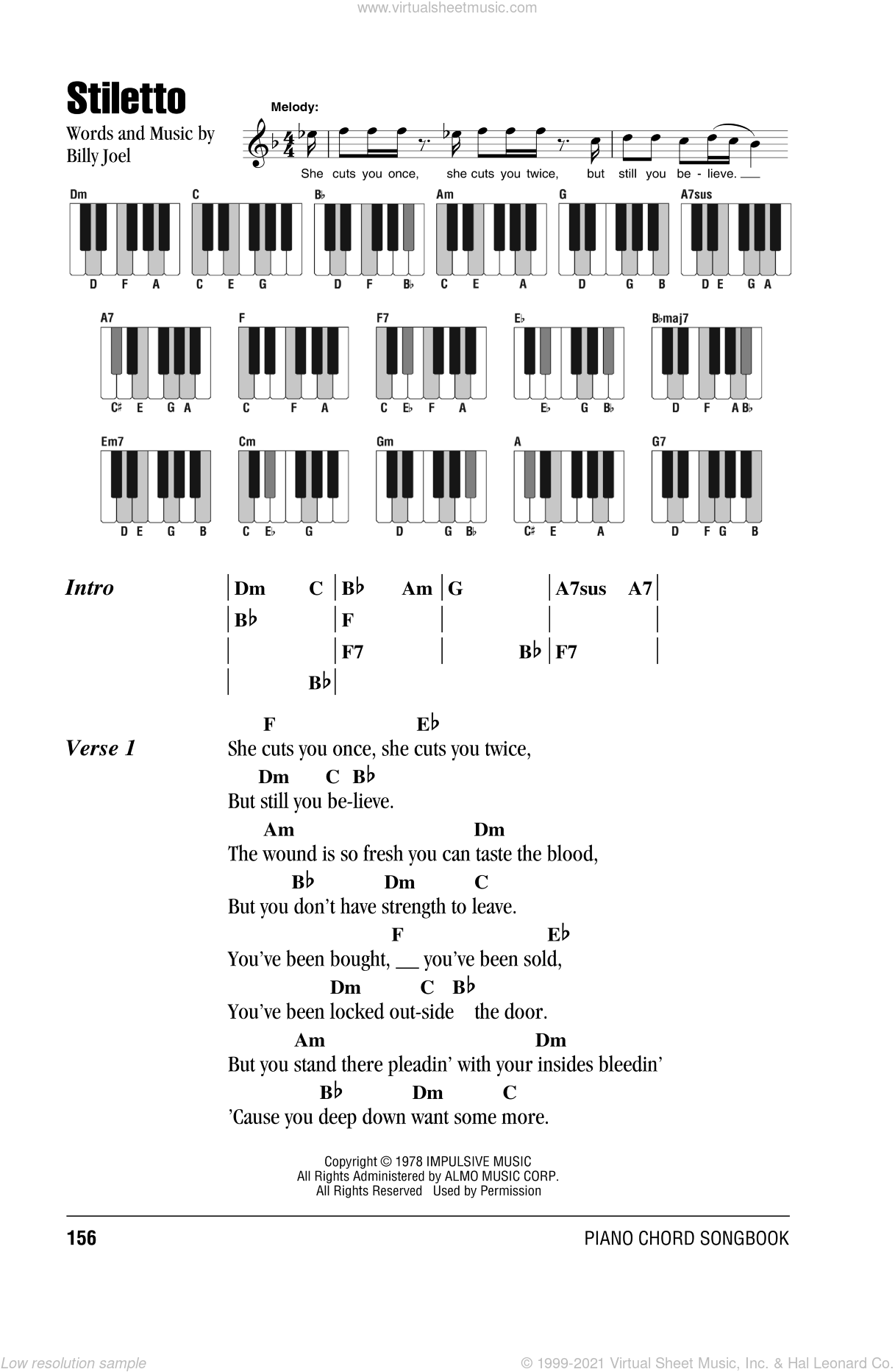 Joel - Stiletto sheet music for piano solo (chords, lyrics, melody)