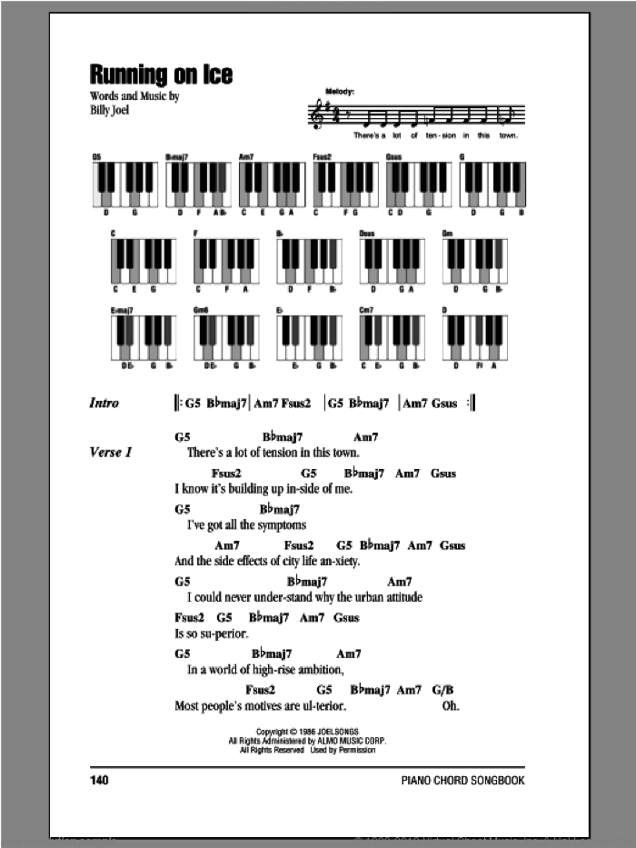 Running On Ice sheet music for piano solo (chords, lyrics, melody) by Billy Joel, intermediate piano (chords, lyrics, melody). Score Image Preview.