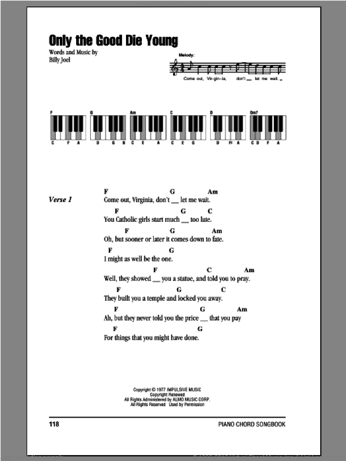 Only The Good Die Young sheet music for piano solo (chords, lyrics, melody) by Billy Joel, intermediate piano (chords, lyrics, melody)