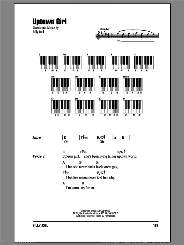 Uptown Girl sheet music for piano solo (chords, lyrics, melody) by Billy Joel, intermediate piano (chords, lyrics, melody). Score Image Preview.