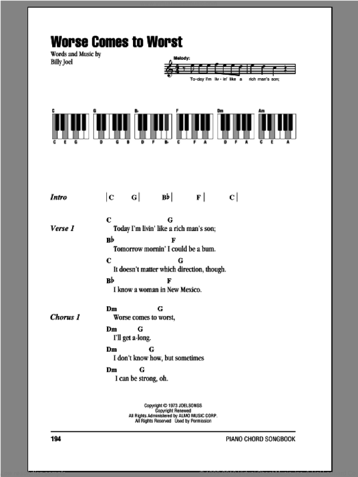 Worse Comes To Worst sheet music for piano solo (chords, lyrics, melody) by Billy Joel. Score Image Preview.