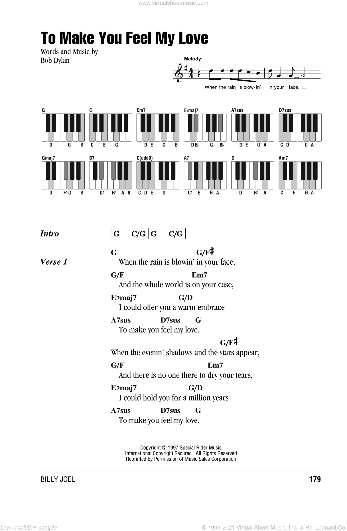 To Make You Feel My Love sheet music for piano solo (chords, lyrics, melody) by Billy Joel and Bob Dylan, intermediate piano (chords, lyrics, melody)