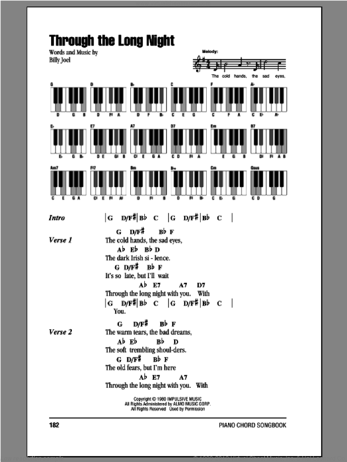 Through The Long Night sheet music for piano solo (chords, lyrics, melody) by Billy Joel. Score Image Preview.