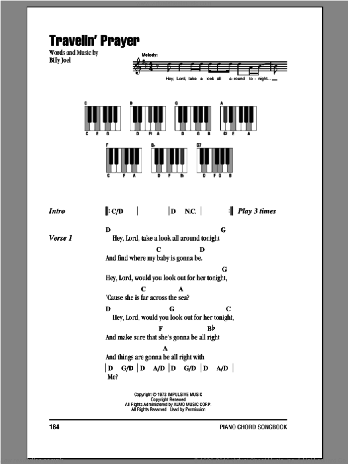 Travelin' Prayer sheet music for piano solo (chords, lyrics, melody) by Billy Joel. Score Image Preview.
