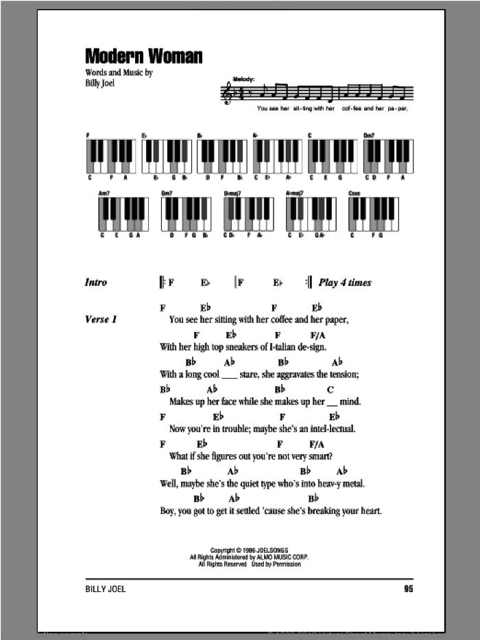 Modern Woman sheet music for piano solo (chords, lyrics, melody) by Billy Joel, intermediate piano (chords, lyrics, melody)