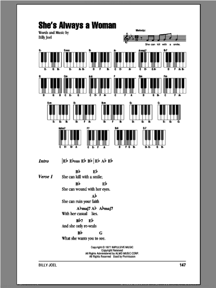 She's Always A Woman sheet music for piano solo (chords, lyrics, melody) by Billy Joel, intermediate piano (chords, lyrics, melody). Score Image Preview.