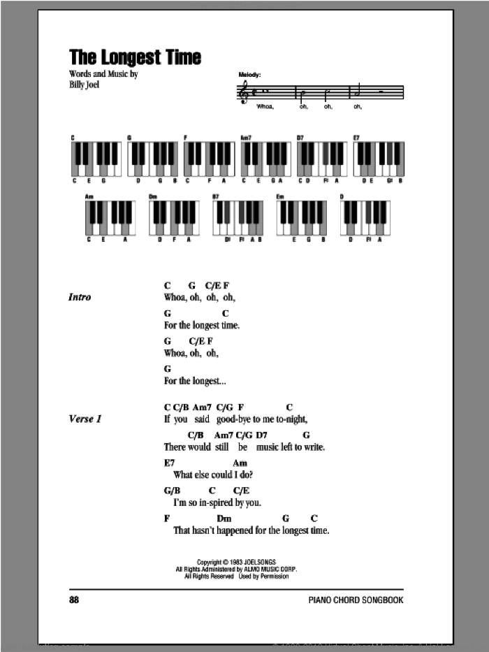 The Longest Time sheet music for piano solo (chords, lyrics, melody) by Billy Joel, intermediate piano (chords, lyrics, melody). Score Image Preview.