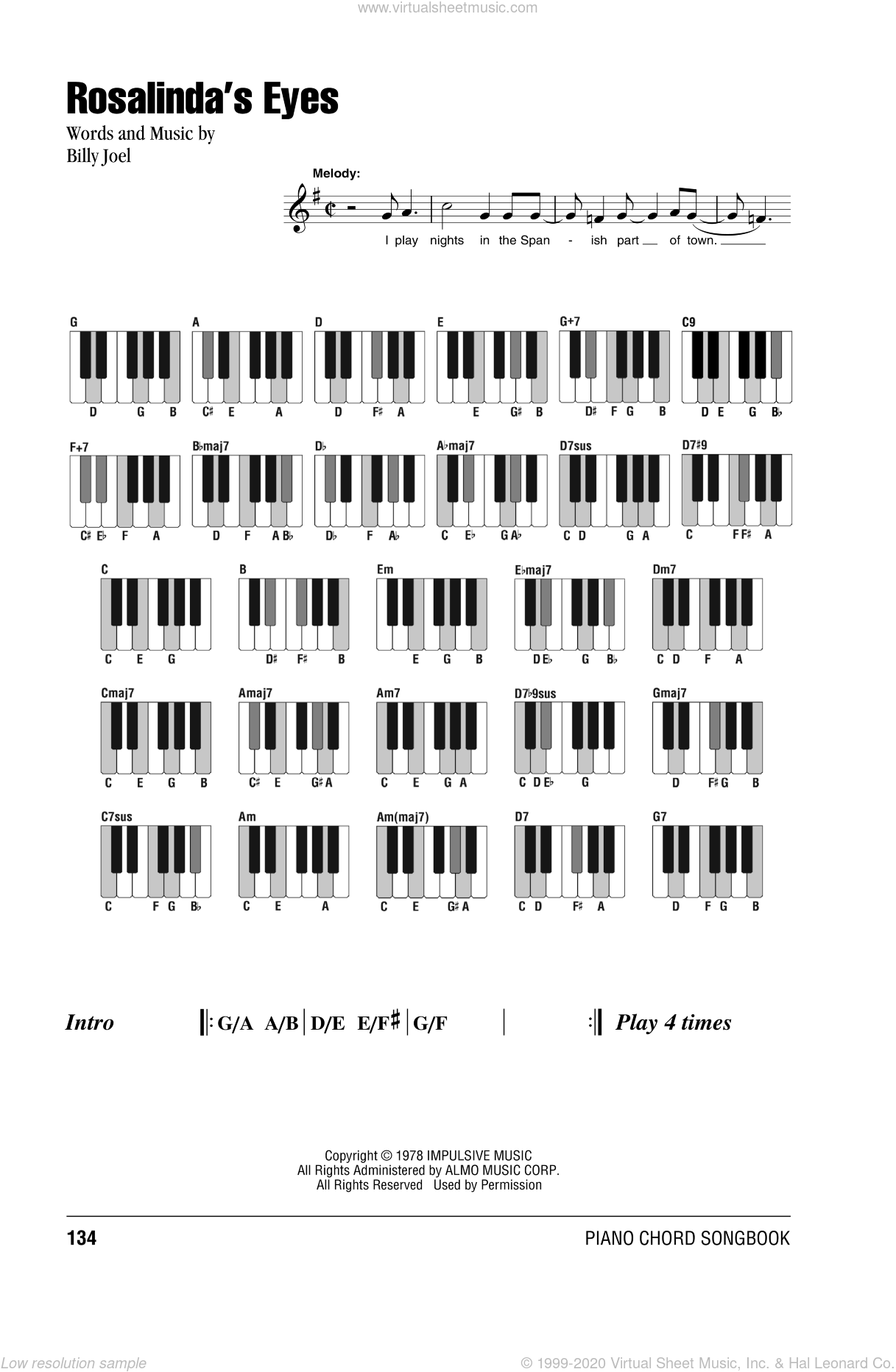 Rosalinda's Eyes sheet music for piano solo (chords, lyrics, melody) by Billy Joel. Score Image Preview.