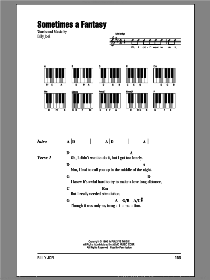 Sometimes A Fantasy sheet music for piano solo (chords, lyrics, melody) by Billy Joel, intermediate piano (chords, lyrics, melody). Score Image Preview.