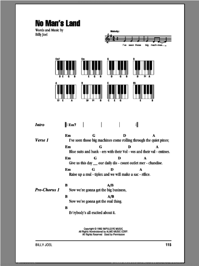No Man's Land sheet music for piano solo (chords, lyrics, melody) by Billy Joel. Score Image Preview.