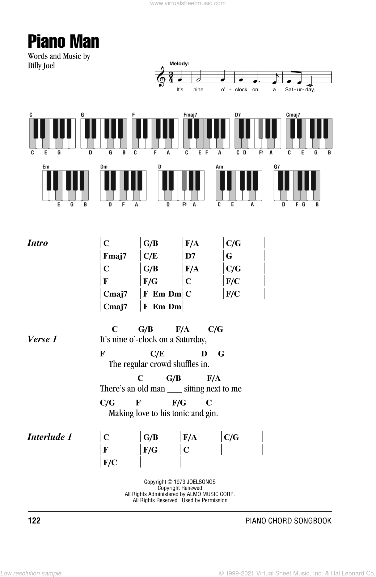 Piano Man sheet music for piano solo (chords, lyrics, melody) by Billy Joel. Score Image Preview.