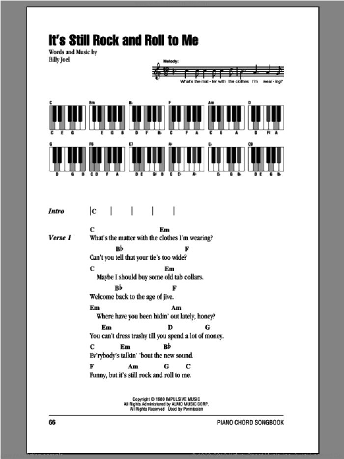 It's Still Rock And Roll To Me sheet music for piano solo (chords, lyrics, melody) by Billy Joel. Score Image Preview.
