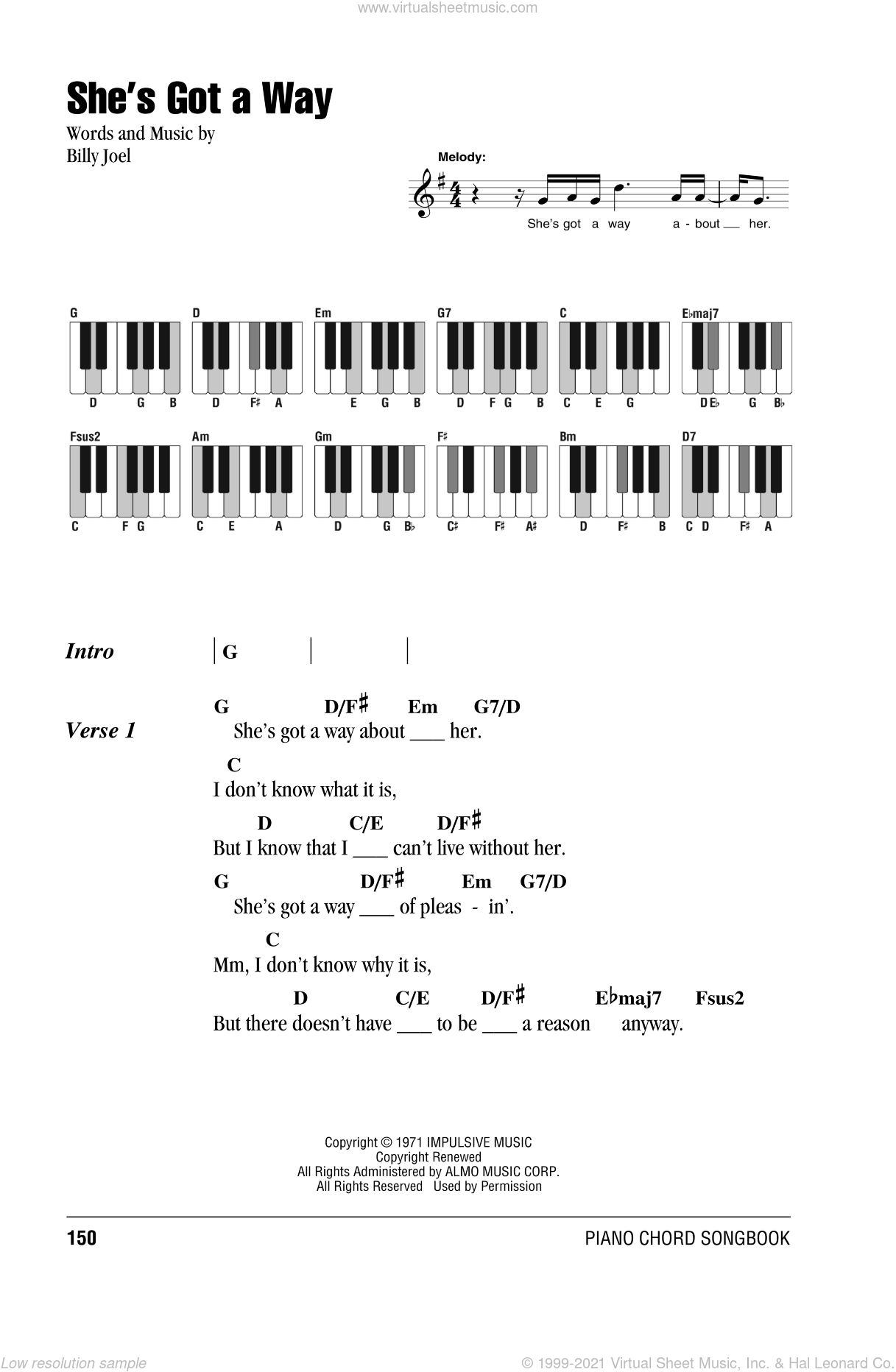 She's Got A Way sheet music for piano solo (chords, lyrics, melody) by Billy Joel. Score Image Preview.