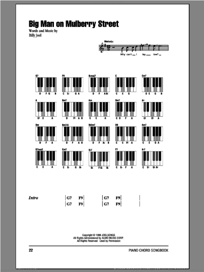 Big Man On Mulberry Street sheet music for piano solo (chords, lyrics, melody) by Billy Joel, intermediate piano (chords, lyrics, melody)