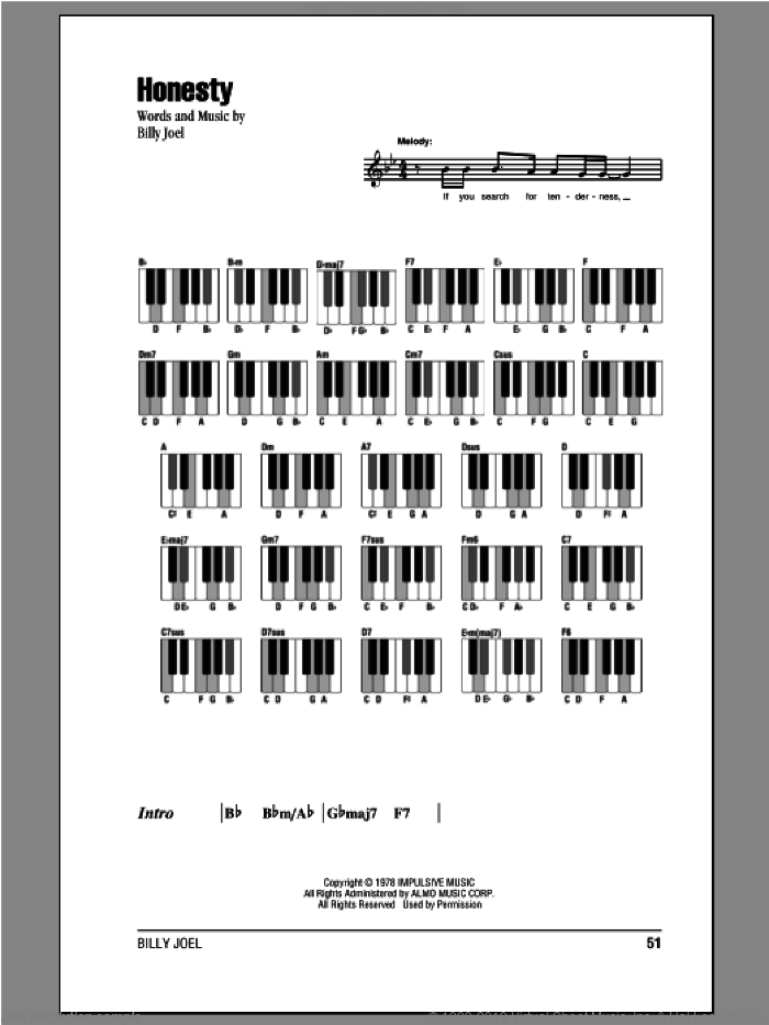 Honesty sheet music for piano solo (chords, lyrics, melody) by Billy Joel. Score Image Preview.