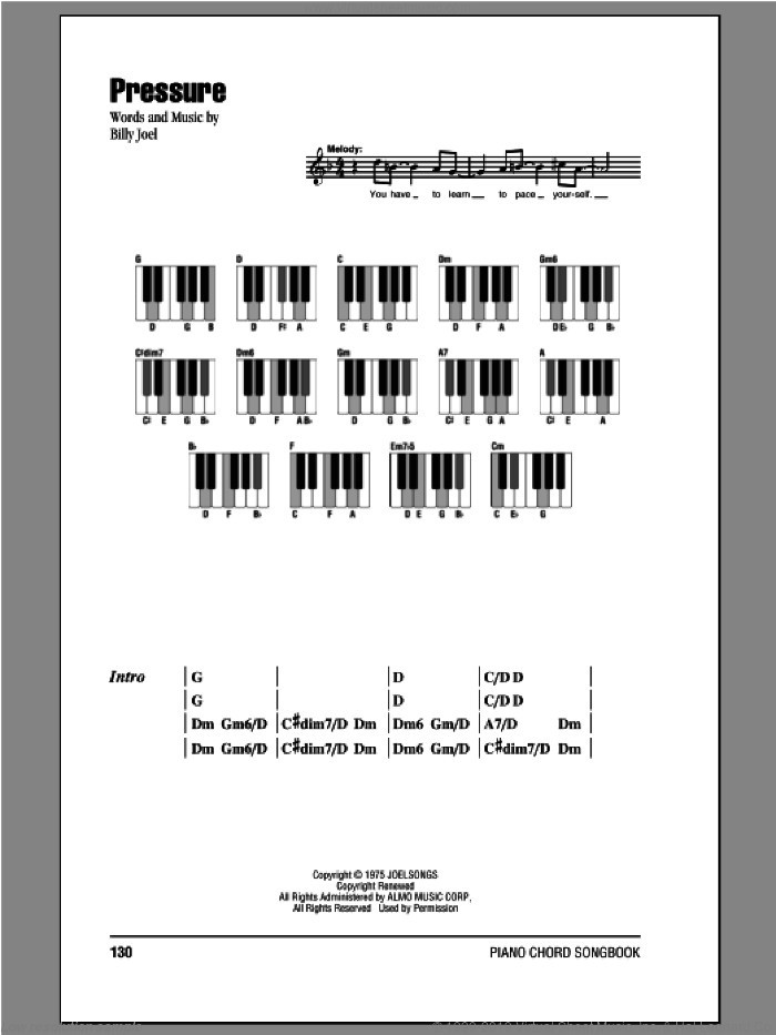 Pressure sheet music for piano solo (chords, lyrics, melody) by Billy Joel, intermediate piano (chords, lyrics, melody)