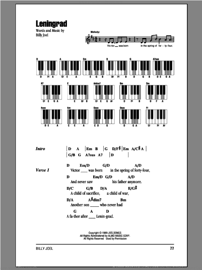Leningrad sheet music for piano solo (chords, lyrics, melody) by Billy Joel, intermediate piano (chords, lyrics, melody)