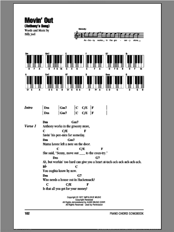 Movin' Out (Anthony's Song) sheet music for piano solo (chords, lyrics, melody) by Billy Joel, intermediate piano (chords, lyrics, melody)