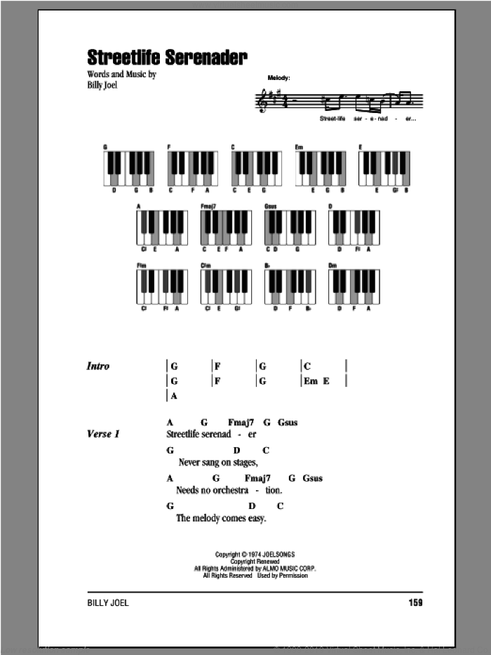 Streetlife Serenader sheet music for piano solo (chords, lyrics, melody) by Billy Joel. Score Image Preview.