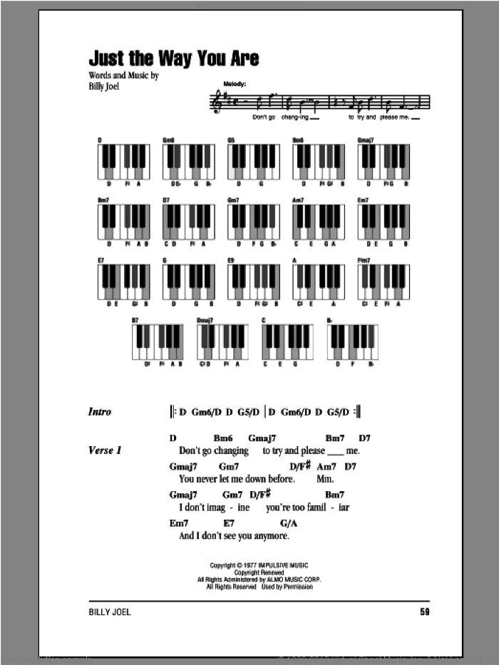 Just The Way You Are sheet music for piano solo (chords, lyrics, melody) by Billy Joel. Score Image Preview.