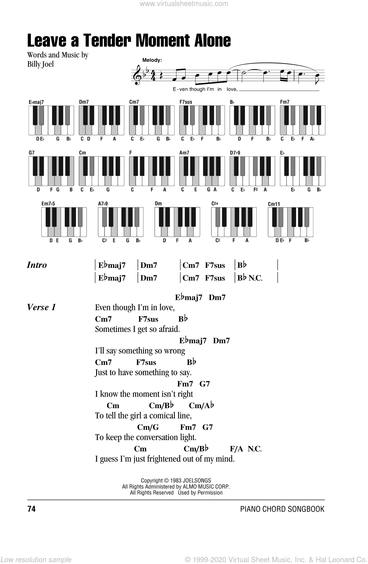 Leave A Tender Moment Alone sheet music for piano solo (chords, lyrics, melody) by Billy Joel, intermediate piano (chords, lyrics, melody)