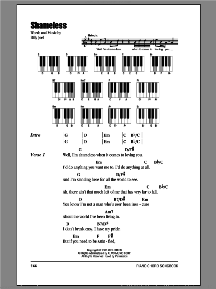 Shameless sheet music for piano solo (chords, lyrics, melody) by Billy Joel. Score Image Preview.