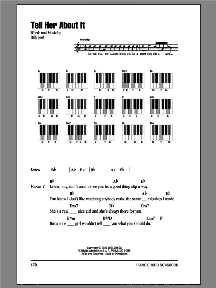 Tell Her About It sheet music for piano solo (chords, lyrics, melody) by Billy Joel. Score Image Preview.
