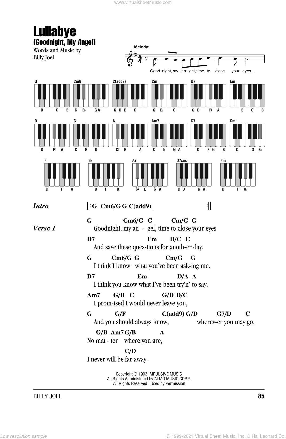 Lullabye (Goodnight, My Angel) sheet music for piano solo (chords, lyrics, melody) by Billy Joel. Score Image Preview.