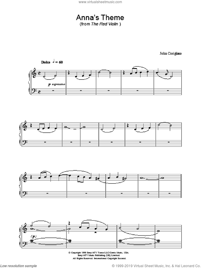 Anna's Theme (from The Red Violin) sheet music for piano solo by John Corigliano