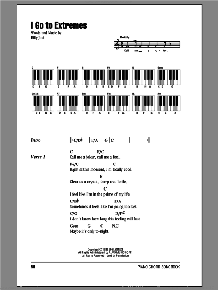 I Go To Extremes sheet music for piano solo (chords, lyrics, melody) by Billy Joel. Score Image Preview.