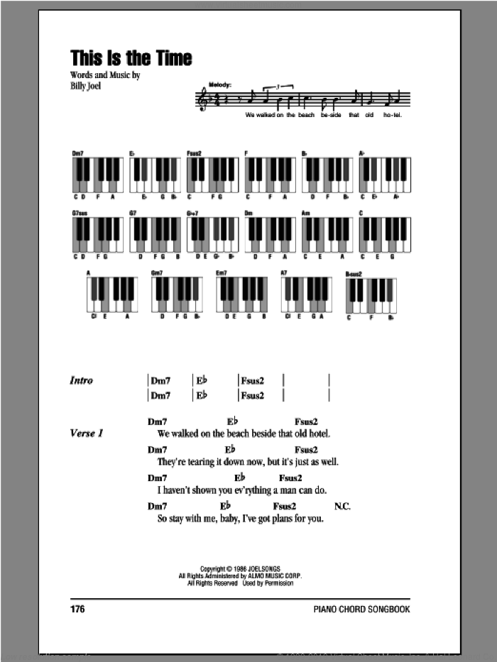 This Is The Time sheet music for piano solo (chords, lyrics, melody) by Billy Joel. Score Image Preview.