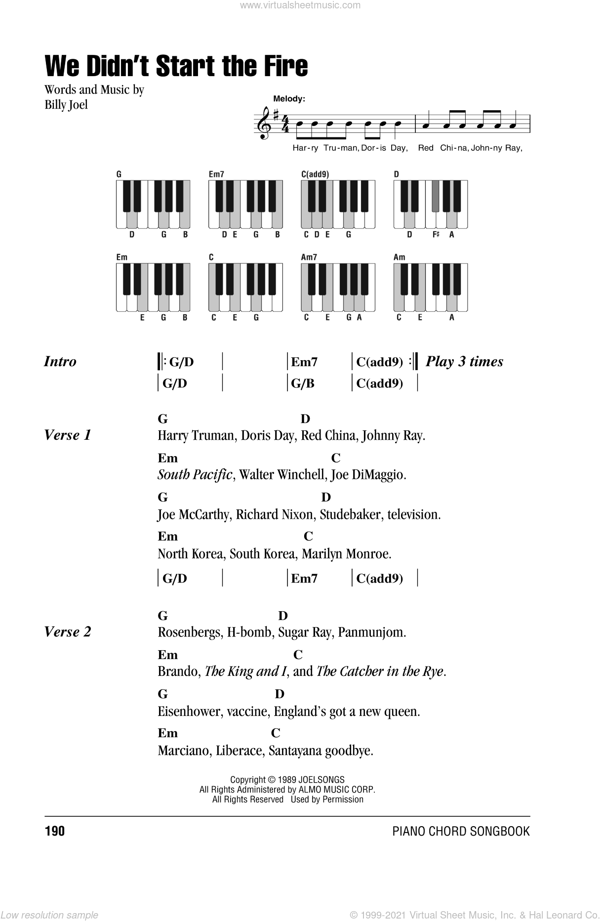 We Didn't Start The Fire sheet music for piano solo (chords, lyrics, melody) by Billy Joel. Score Image Preview.