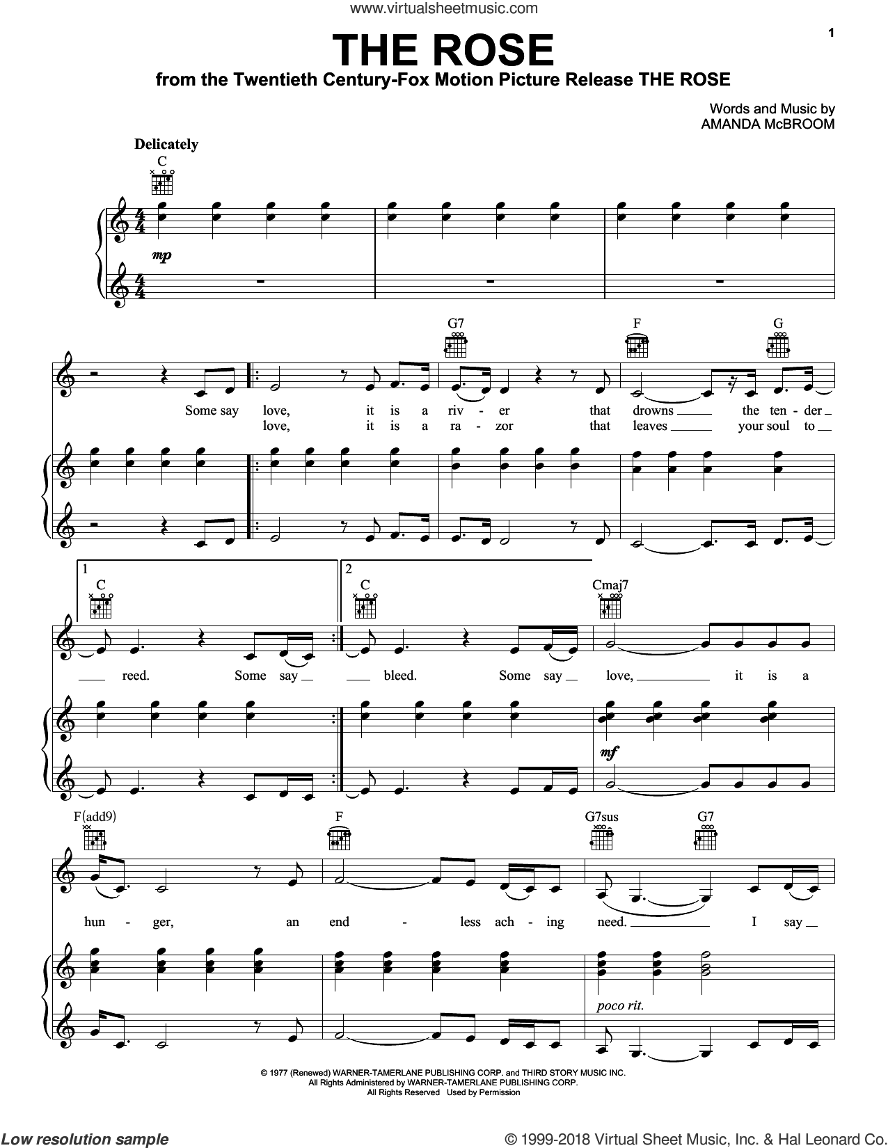 The Rose sheet music for voice, piano or guitar by Bette Midler and Amanda McBroom, intermediate skill level