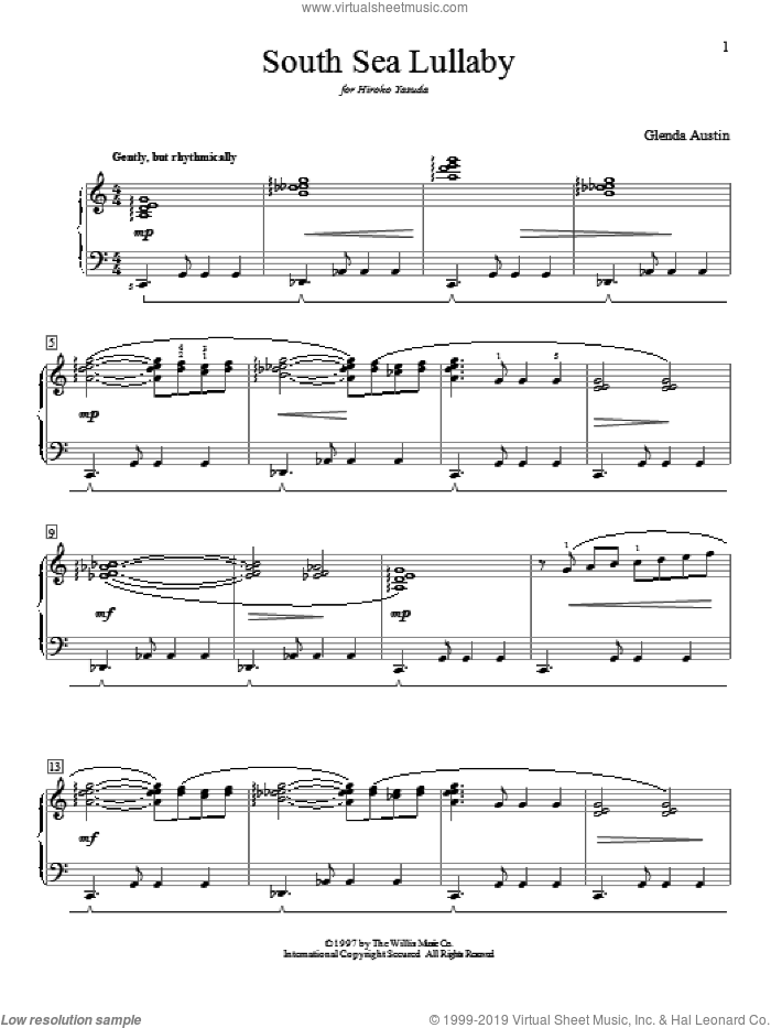 South Sea Lullaby sheet music for piano solo (elementary) by Glenda Austin