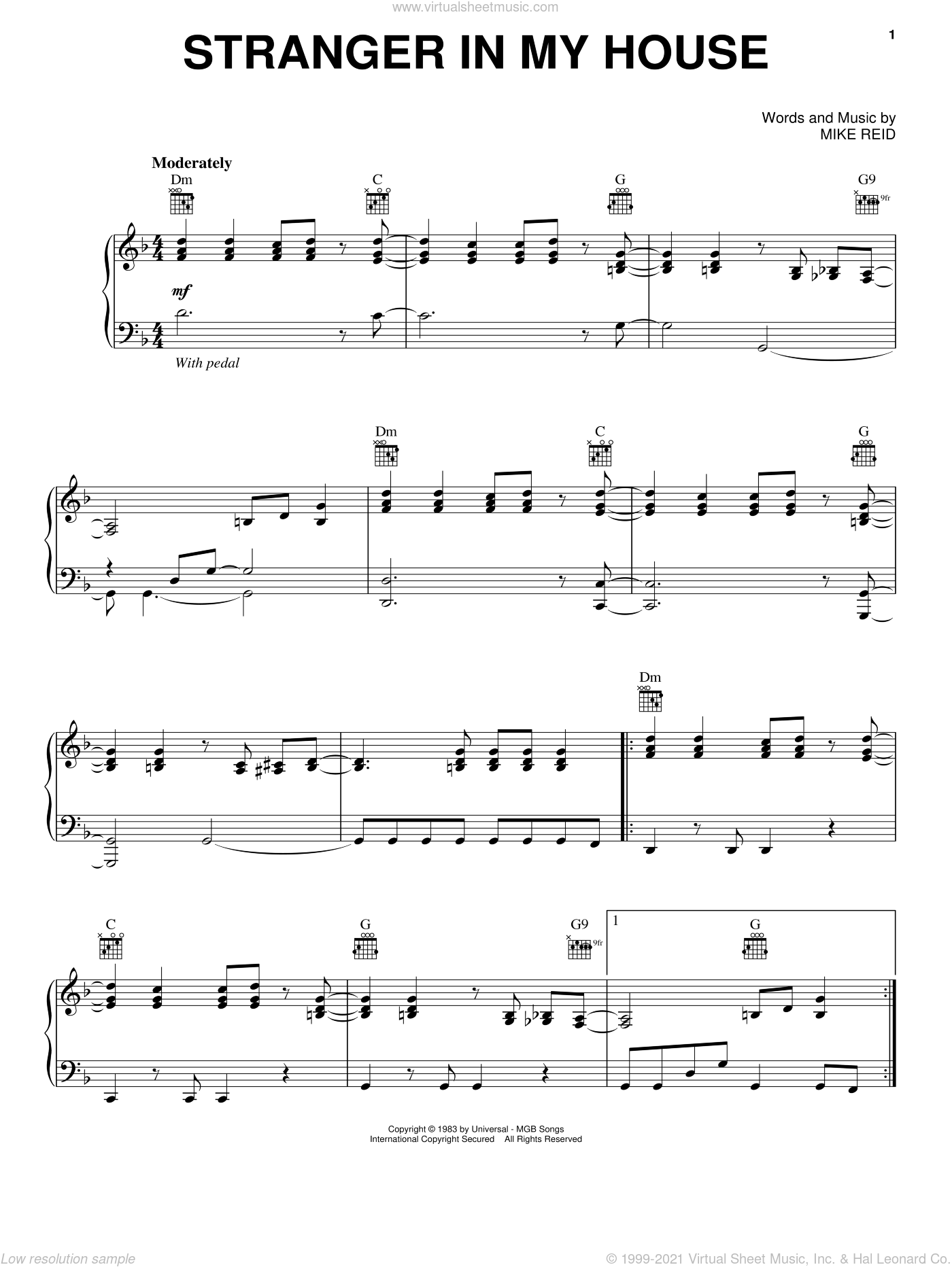 Stranger In My House sheet music for voice, piano or guitar by Ronnie Milsap and Mike Reid, intermediate skill level