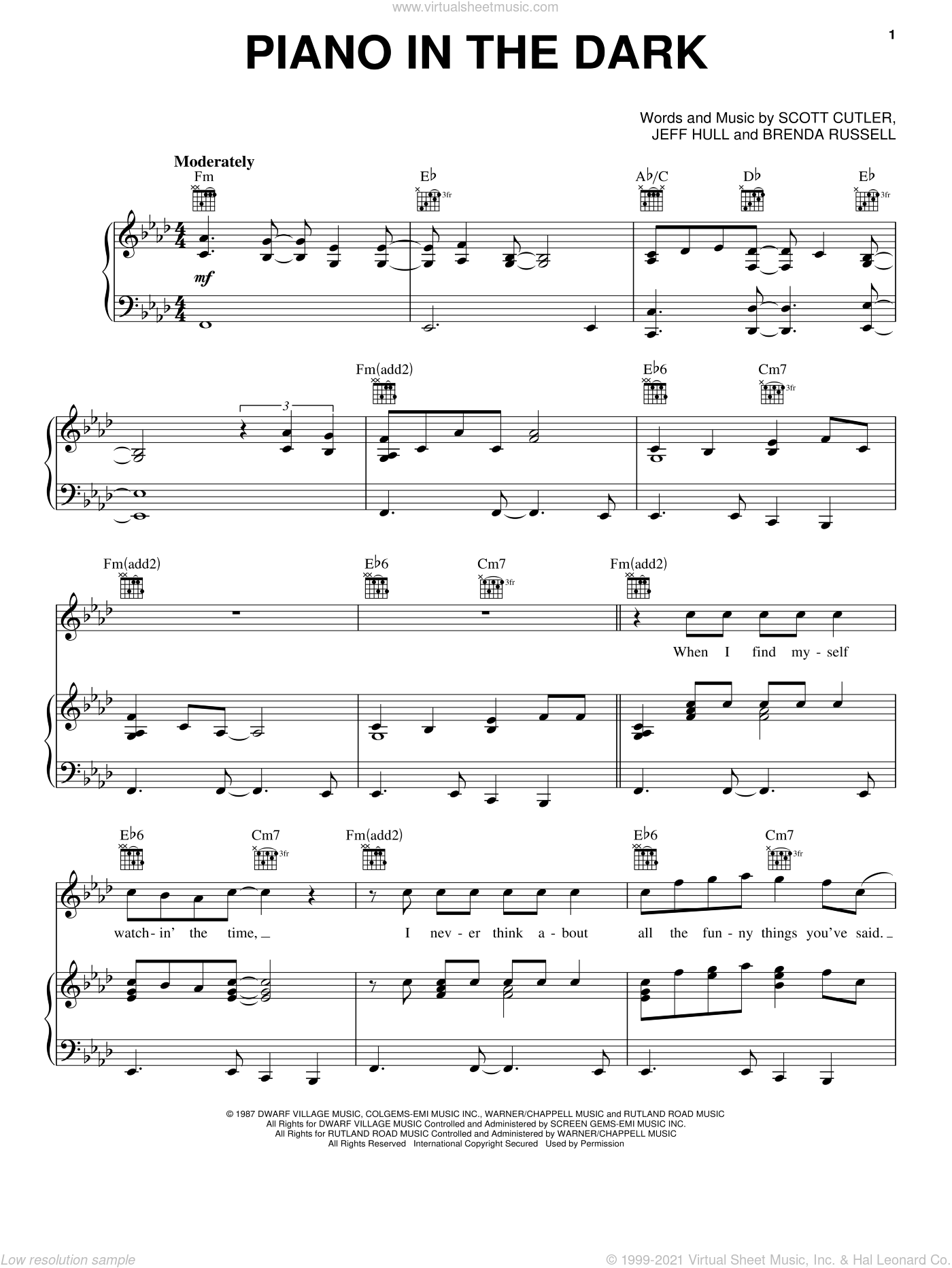 Piano In The Dark sheet music for voice, piano or guitar by Brenda Russell, Jeff Hull and Scott Cutler, intermediate skill level