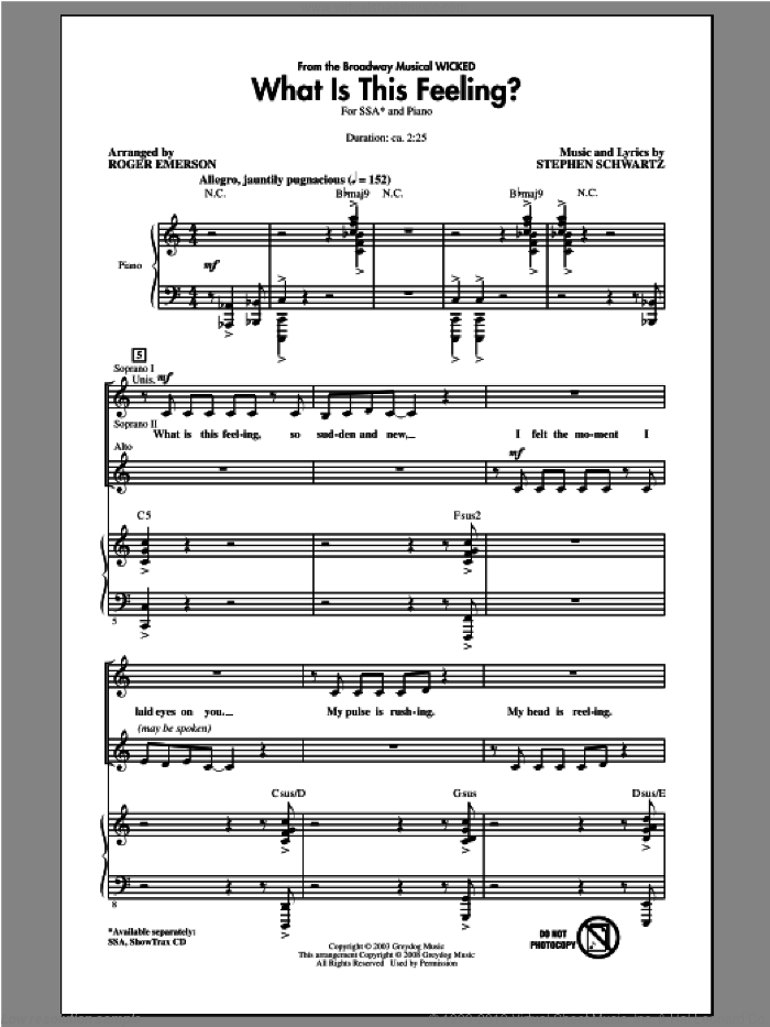 What Is This Feeling? sheet music for choir (soprano voice, alto voice, choir) by Stephen Schwartz and Roger Emerson, intermediate choir (soprano voice, alto voice, choir). Score Image Preview.