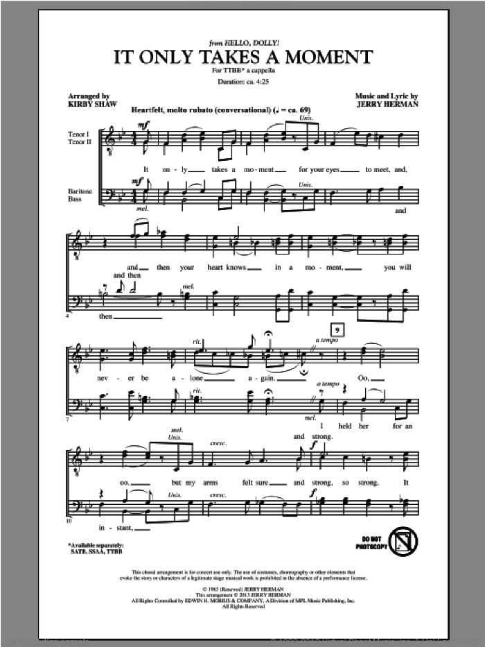 It Only Takes A Moment sheet music for choir (TTBB: tenor, bass) by Kirby Shaw and Jerry Herman, intermediate skill level