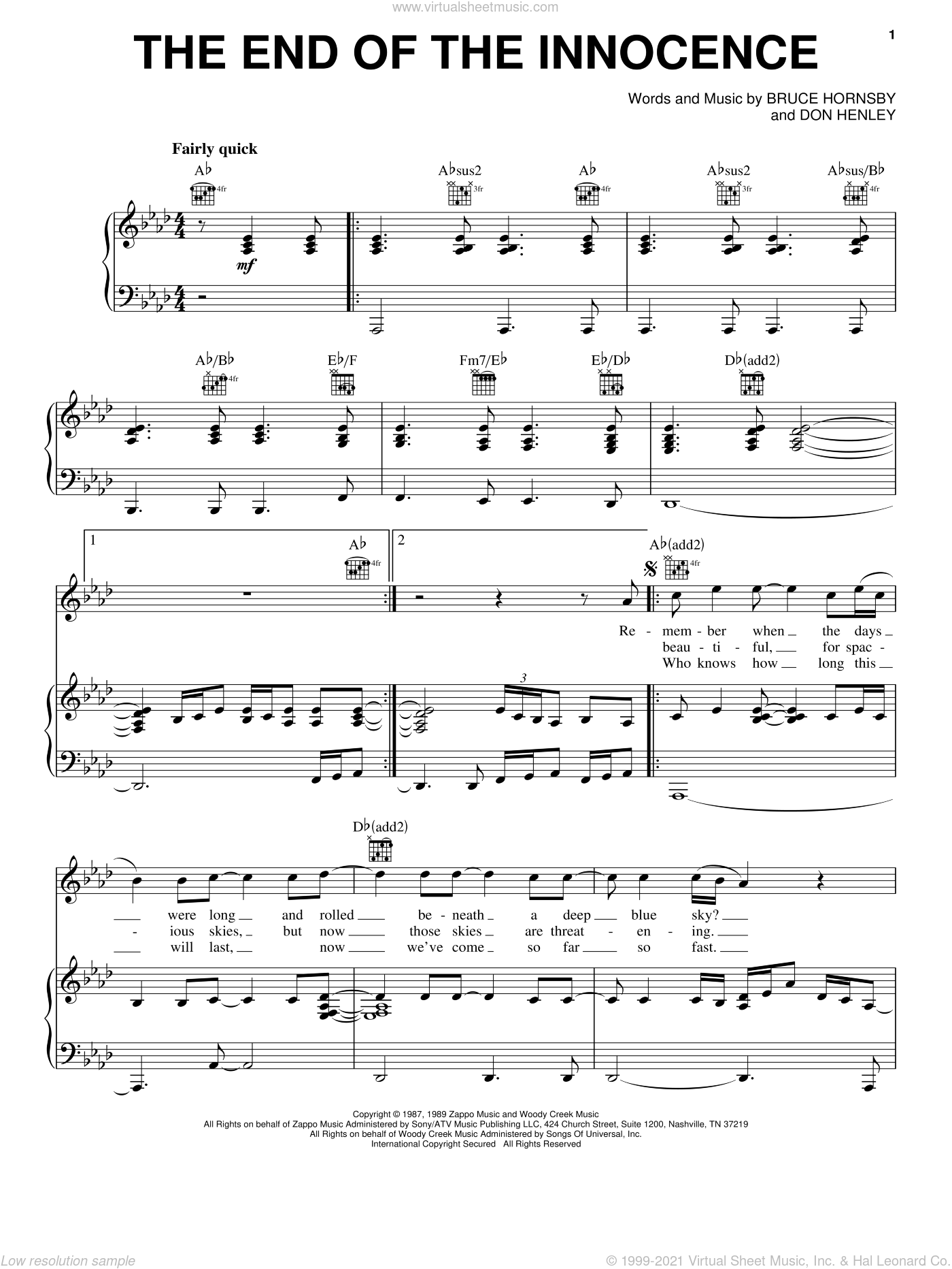 The End Of The Innocence sheet music for voice, piano or guitar by Bruce Hornsby and Don Henley. Score Image Preview.