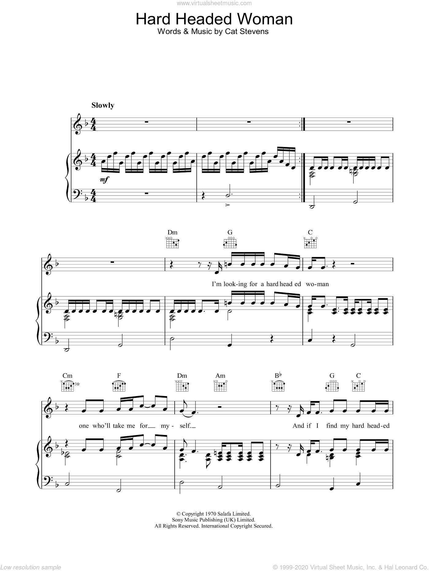 Hard Headed Woman sheet music for voice, piano or guitar by Cat Stevens. Score Image Preview.