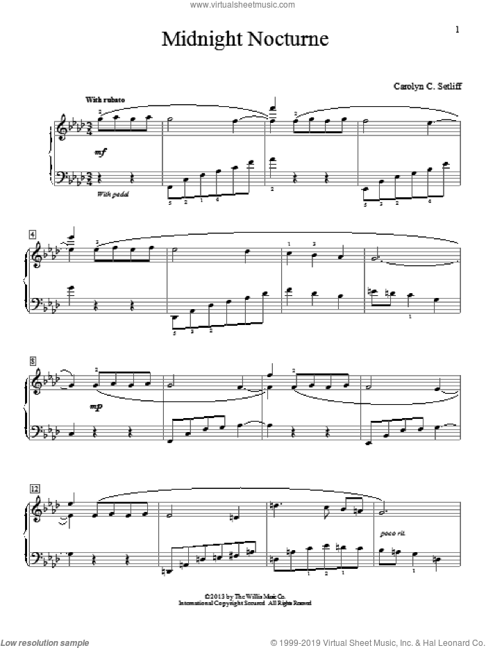 Midnight Nocturne sheet music for piano solo (elementary) by Carolyn C. Setliff, beginner piano (elementary)