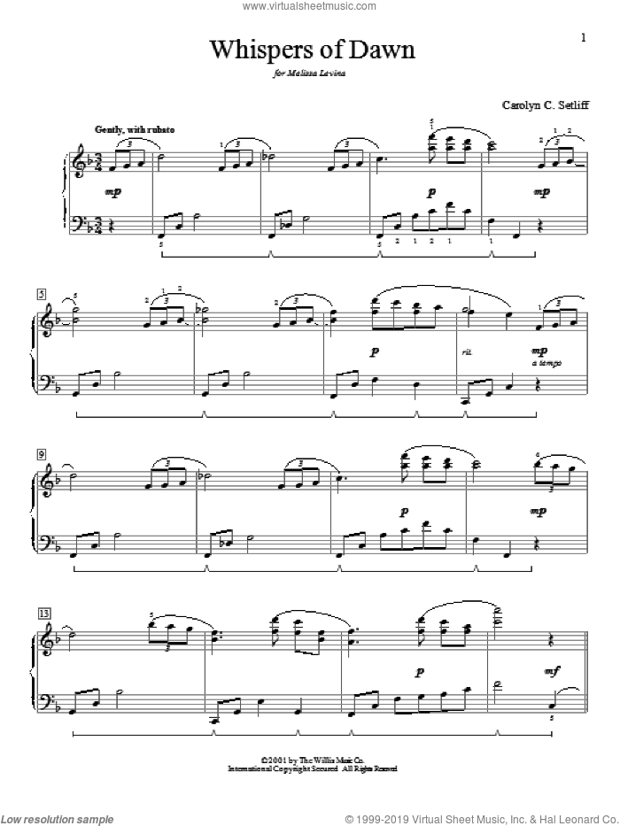 Whispers Of Dawn sheet music for piano solo (elementary) by Carolyn C. Setliff, beginner piano (elementary). Score Image Preview.