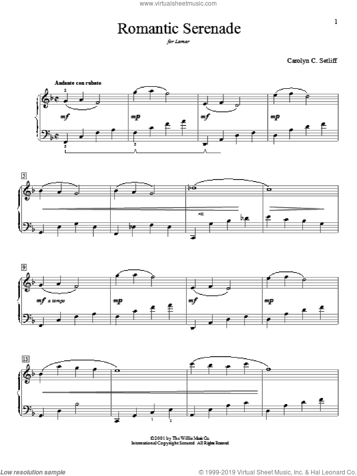 Romantic Serenade sheet music for piano solo (elementary) by Carolyn C. Setliff. Score Image Preview.