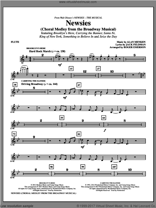 Newsies (Choral Medley) (COMPLETE) sheet music for orchestra by Roger Emerson