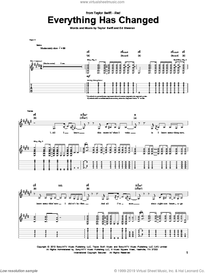 Everything Has Changed sheet music for guitar (tablature) by Taylor Swift and Ed Sheeran, intermediate guitar (tablature). Score Image Preview.